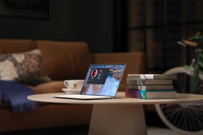laptop sitting on table