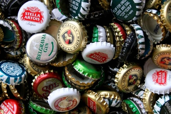 bottle caps with logos