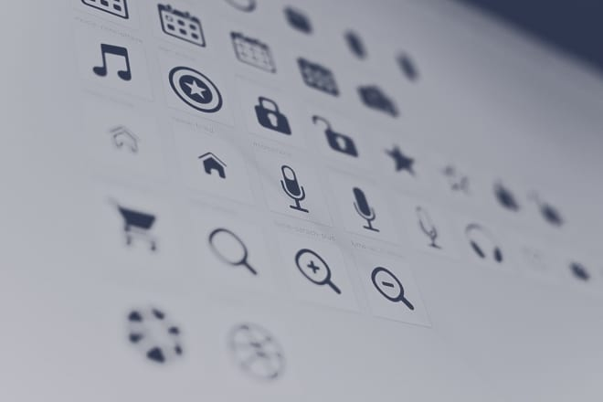 icons on white paper